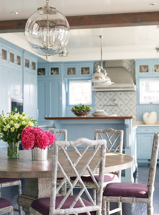Dining rooms round oak dining table gray washed faux for Blue washed kitchen cabinets
