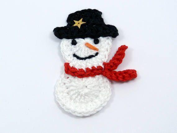Crochet appliques Christmas crochet 1 large applique snowman