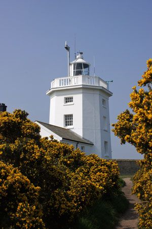 Cromer Lighthouse situated in the town of Cromer on the coast in the English county of Norfolk.