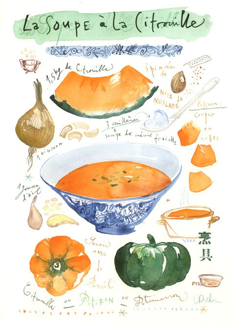 Pumpkin soup recipe Kitchen art Original watercolor painting Food artwork Vegetables Cooking Botanical Orange decor Poster French recipe. $68.00, via Etsy.