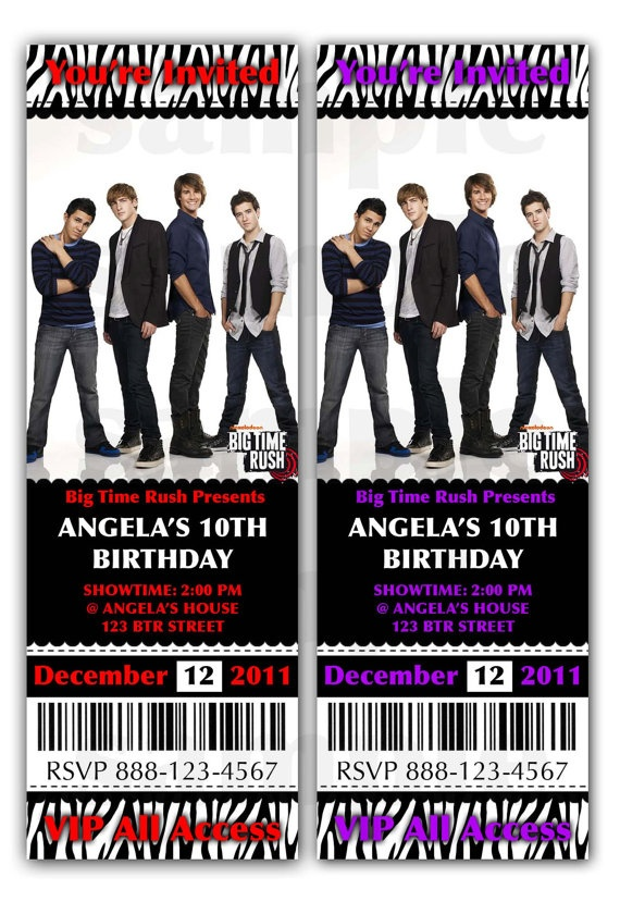 Big time Rush Invitation Birthday party by JayPeaCreations on Etsy, $12.00