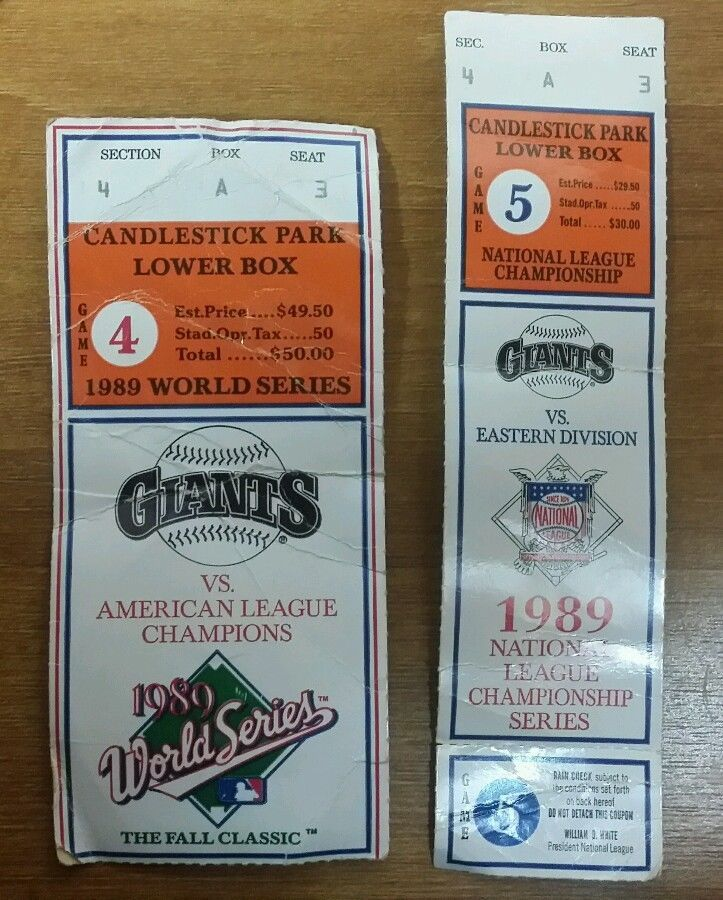 1989 WORLD SERIES GAME 4 GAME 5 TICKET STUB SAN FRANCISCO GIANTS OAKLAND A'S  #Athletics #sfgiants