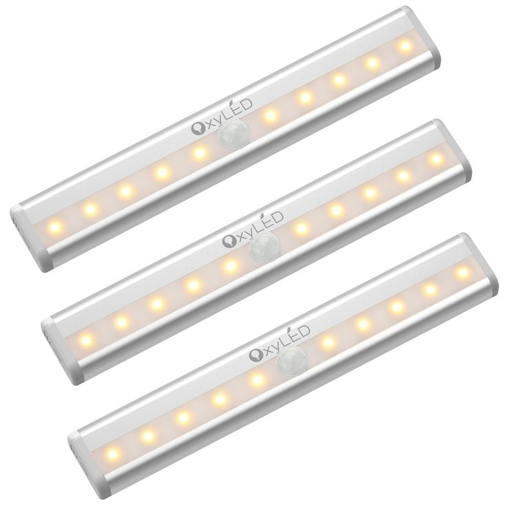 OxyLED Motion Sensor Closet Lights, Cabinet Light, DIY Stick-on Anywhere Wireless 10 LED Light Bar, Safe Lights with Magnetic Strip for Closet Cabinet Wardrobe Stair (3 Pack, Warm Light, Battery Operated) - - AmazonSmile