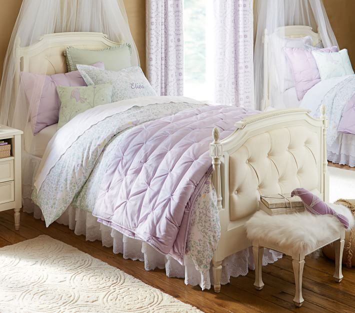 Beautiful Tufted Head Boards Complete The Look Of This Sweet Lavender Bedroom