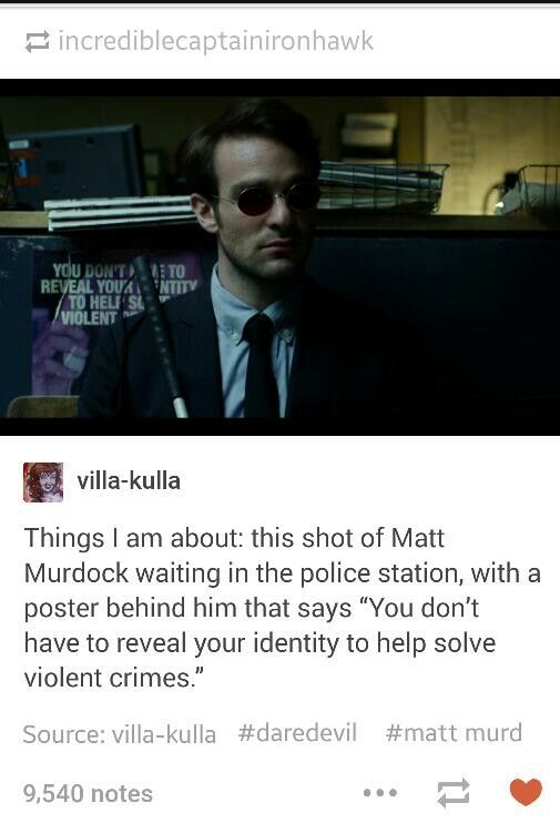 Matt Murdock approves <-while this is true, the sign is not a reference to Civil War. It's about anonymous tips.