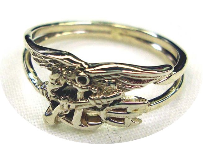 Navy Seal Trident Ring - Sterling Silver