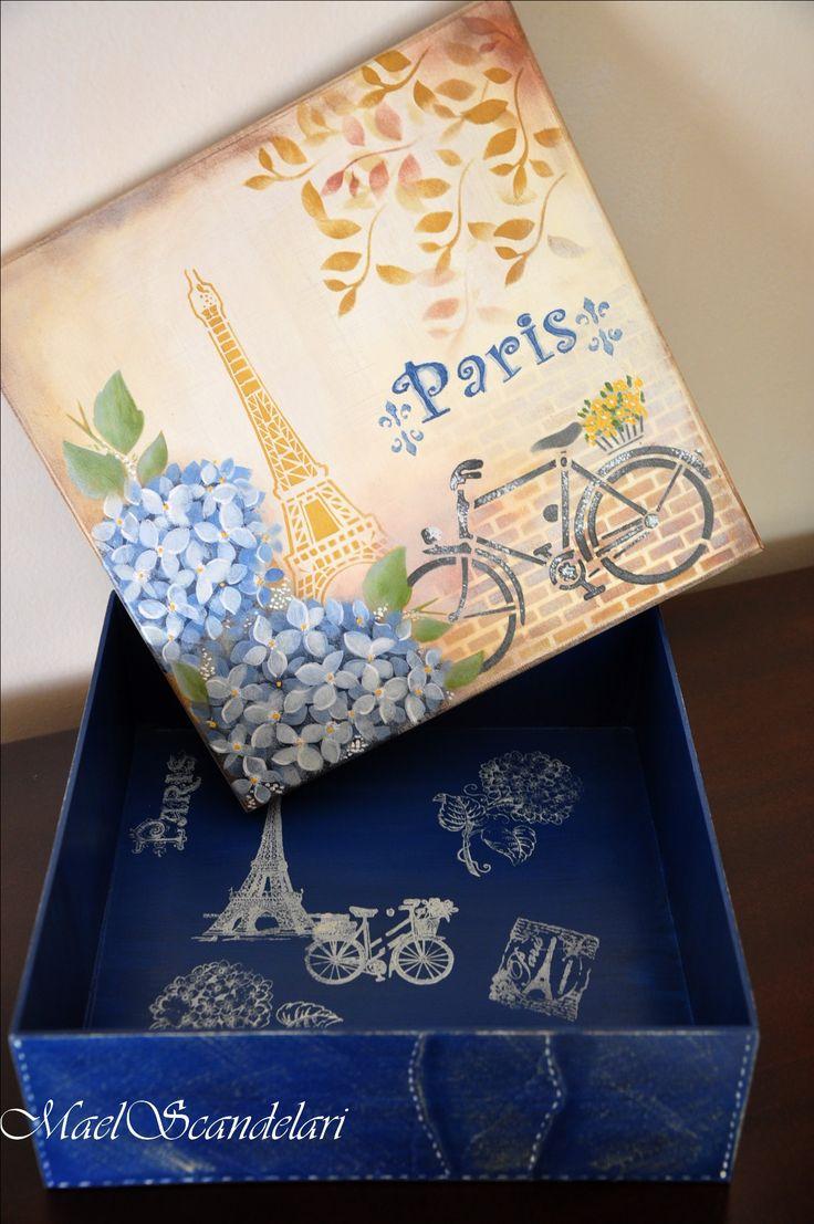 Caixa porta-trecos - pintura com stencil