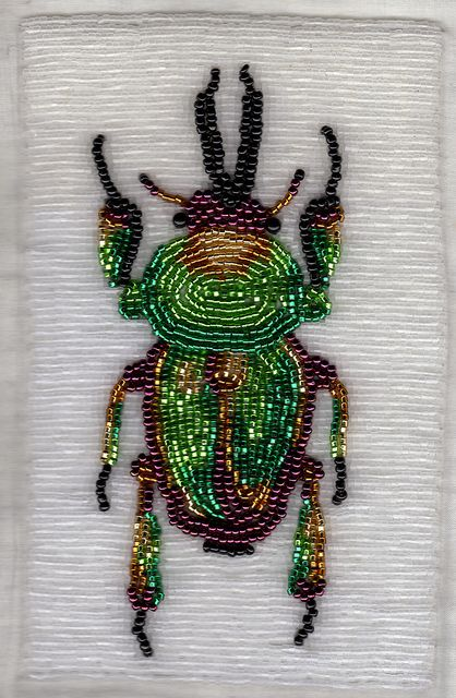 "stagbeetlebf (4"" x 6"" stag beetle bead embroidery) By featherstoneislord"