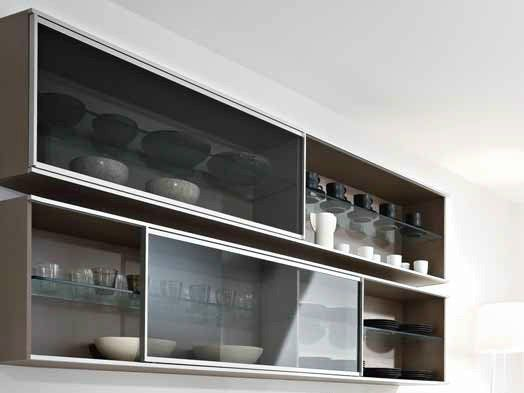 Horizontal wooden wall cabinet with sliding doors DUNE | Wall cabinet - Pedini
