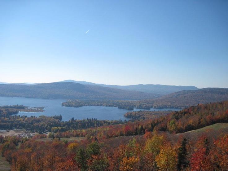 Fall scene in St. Donat, Canada. Archambault Lake.