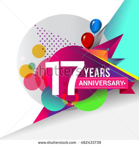 17 years Anniversary logo, Colorful geometric background vector design template…