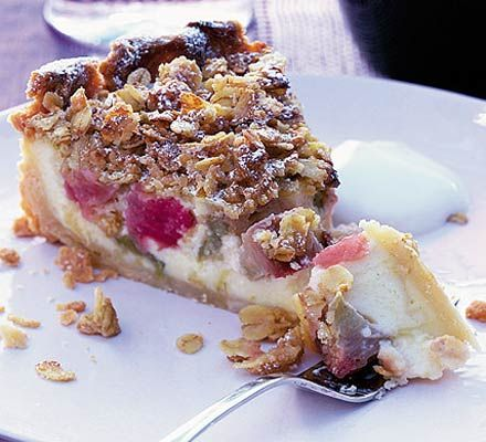 Combine two puddings in one with this rhubarb and custard pie with butter crumble, and celebrate this versatile seasonal fruit.