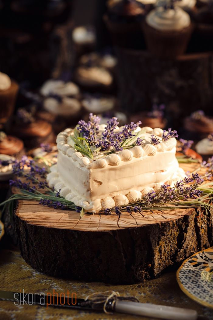 Heart shaped cake with lavender sprigs. | Sikora Photography
