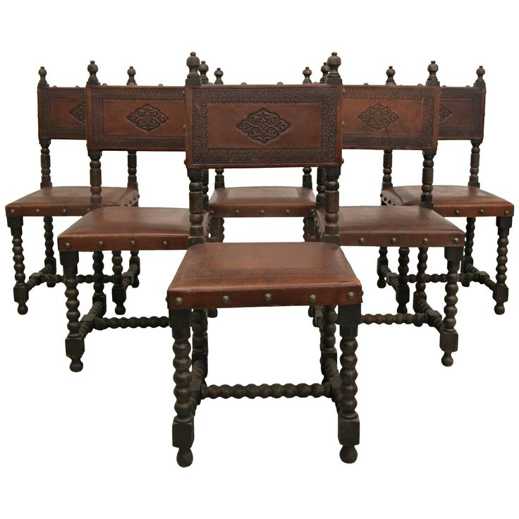 set of six antique spanish colonial stamped leather dining chairs - Leather Dining Room Furniture