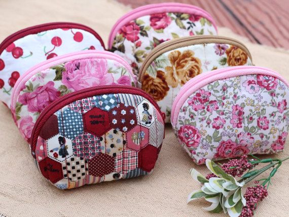 SALE Set of 6 Cotton Coin Purse SetWomen Zipper by LaLannaThai