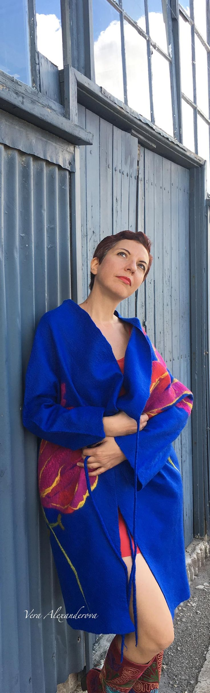 Buy fashion style handmade blue coat by Vera Alexanderova #fashion #style #handmade #unique #womensfashion #coat #blue #wool #felt
