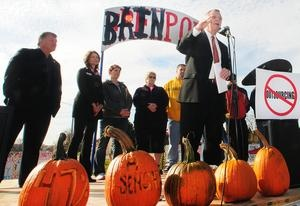 "United States Sen. Dick Durbin, D-Ill., speaks about the Bring Jobs Home Act on Tuesday, Oct. 16, 2012, at the ""Bainport"" encampment, a small tent city across Fairgrounds Road from the Sensata Technologies plant in Freeport."