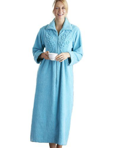 National Chenille Zip Robe Light Teal Large National
