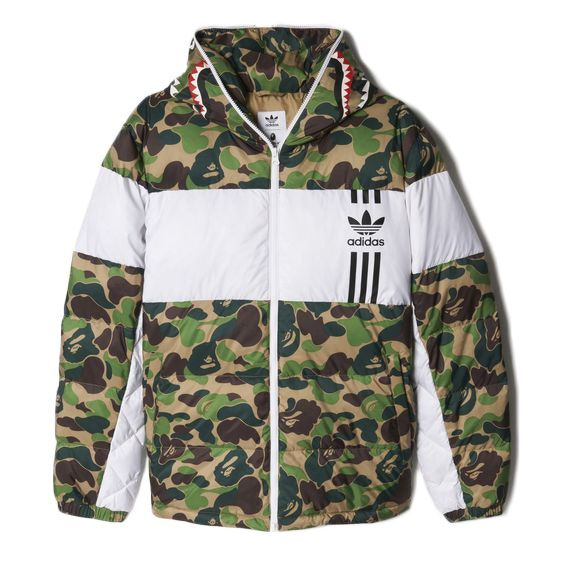 6287f452 Check out the BAPE X adidas ABC Camo Firebird Shark Puffer Jacket Green  available on StockX