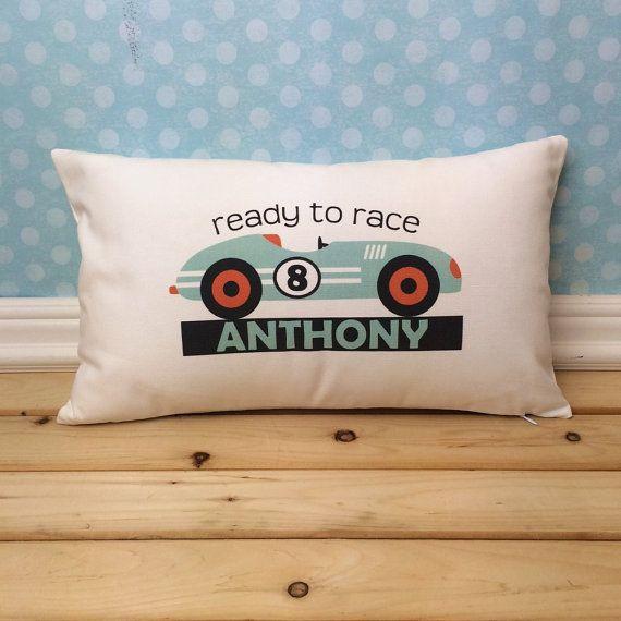 Race Car Pillow Race Car Decor Race Car Nursery by ItsyBitsyWear