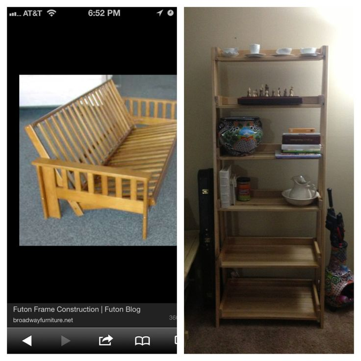 We built a shelf from an old wood futon frame! It was an awesome project, and pretty darn easy!
