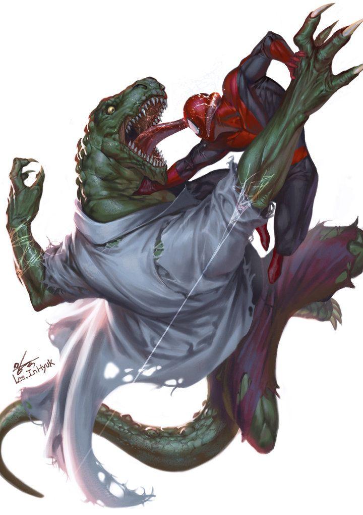 Lizard vs Spidey, In-Hyuk Lee on ArtStation at https://www.artstation.com/artwork/lizard-vs-spidey