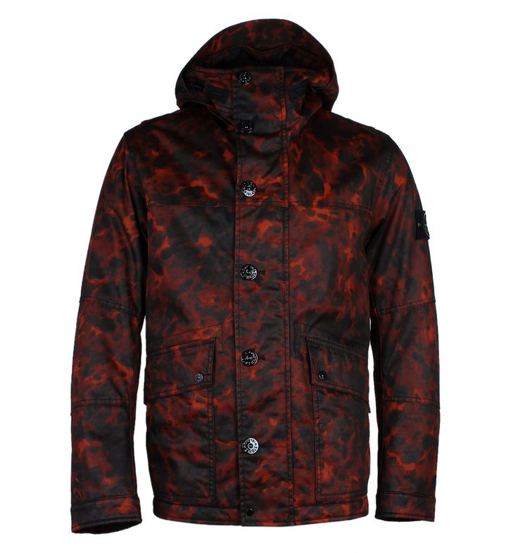 Stone Island Red Tortoise Shell Raso Gommato OVD Jacket