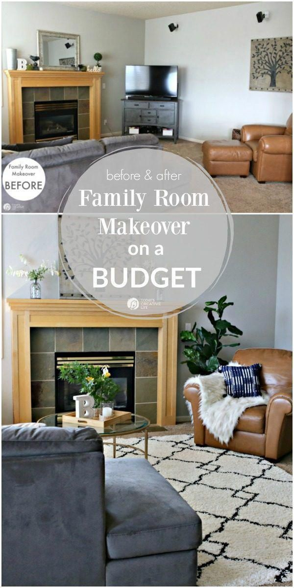 Family Room Ideas on a Budget | BEFORE and after living room ...