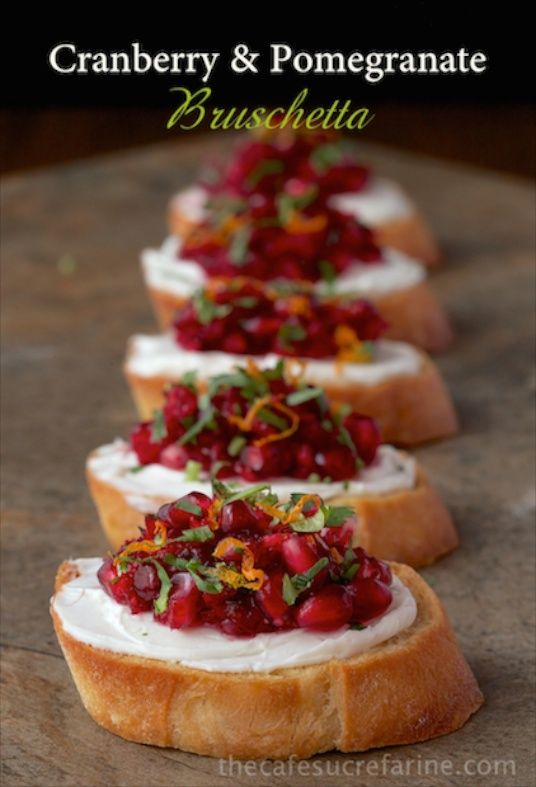 Cranberry and Pomegranate Bruschetta - This bright, fresh healthy appetizer makes a delightful bruschetta but there are tons of other delicious ways to use it - check it out! And we've got a super simple trick for de-seeding your poms too!