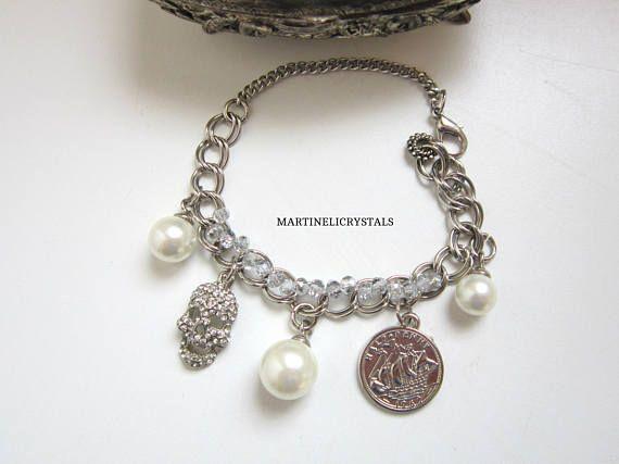 Charm Crystal Skull Blacelet Pearl Charm Bracelet Swarovski