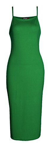 Forever Womens Plain Strappy Viscose Bodycon Long Midi Dress * You can get more details by clicking on the image.