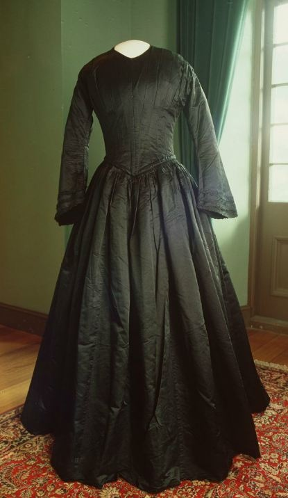 Mourning Dress with Gloves: ca. 1857, Australian, satin.