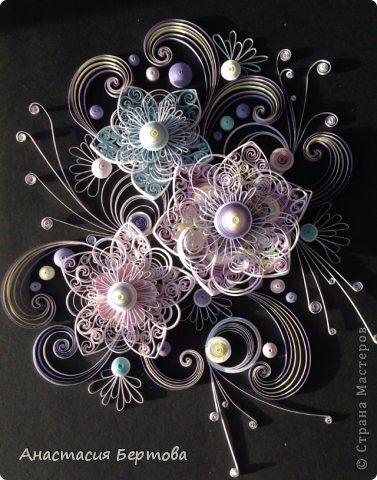 Картина панно рисунок Квиллинг Зимняя Бумажные полосы фото 10