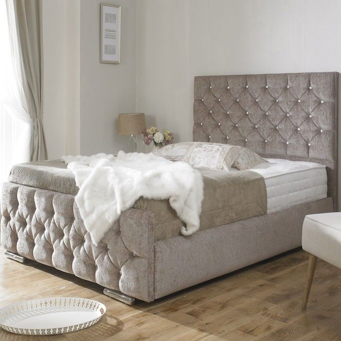 clara diamond upholstered bed frame luxury fabric beds bedscouk - Quilted Bed Frames