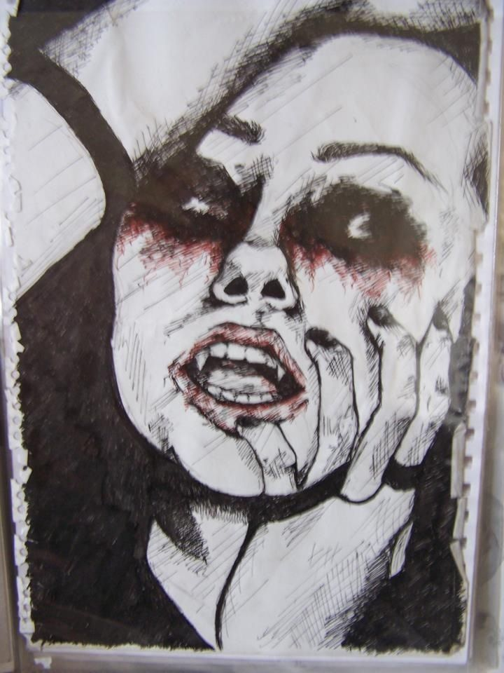 Vampire girl. Ink. All artwork posted is done by me (neonstar) unless stated :)