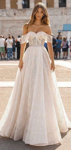 Charming A-Line Off Shoulder Sweep Train Laced Wedding Dresses,VPWD324
