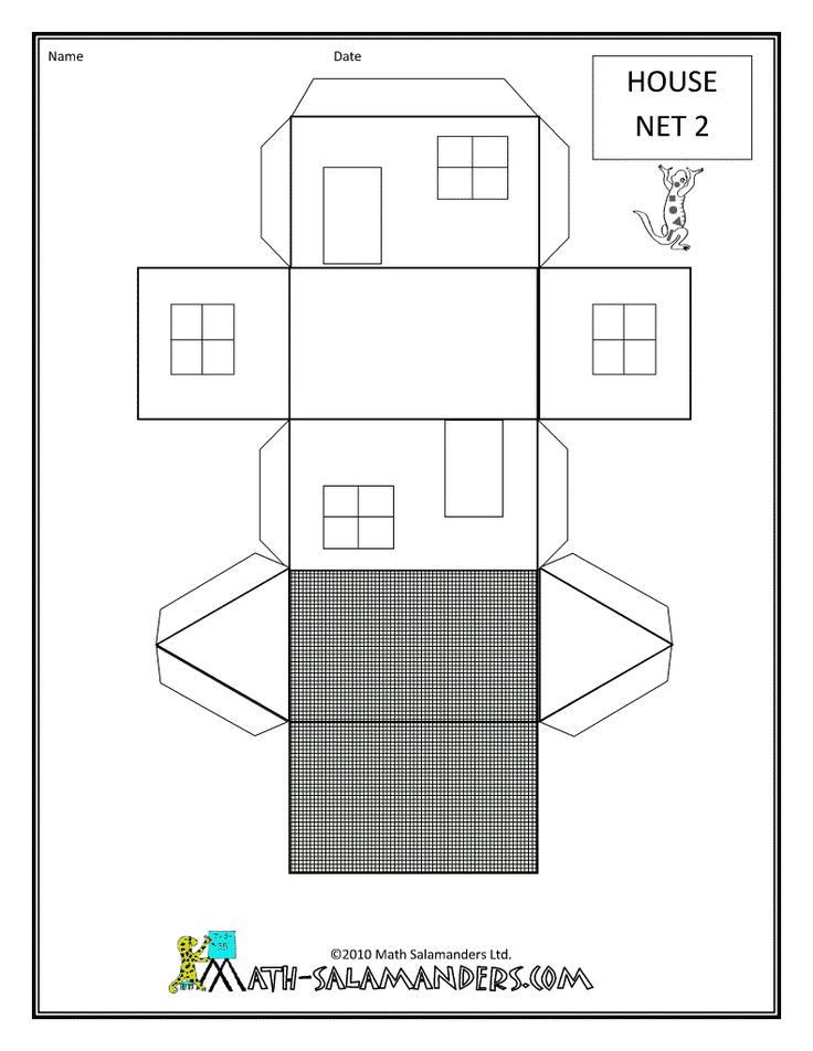 shape printables house net 2 drawn