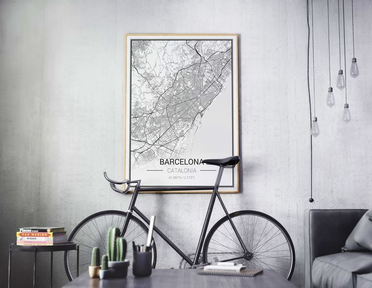 Do you need something special for your appartment or a personalised gift? Then design your own city map at www.mapify.cc #mapify #theartofmaps #mapify.cc #interiordesign #wallart #blackandwhite #posters #maps #scandinavian  #bike #homedecor #citymap #greywalls #barcelona