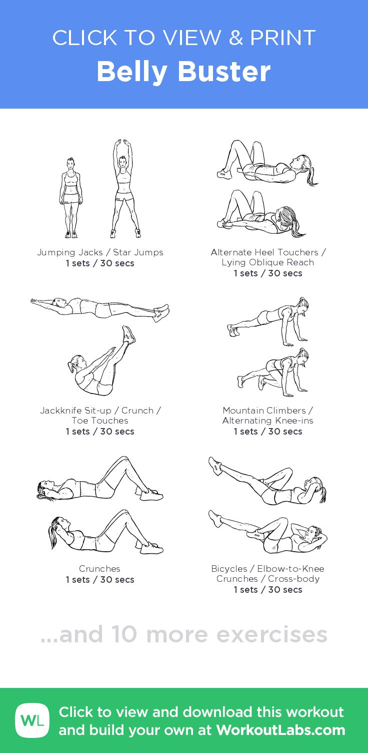 Belly Buster – click to view and print this illustrated exercise plan created with #WorkoutLabsFit