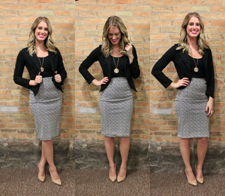 """Winter Wedding & Workwear Chic is what comes to mind for this outfit! Our """"Samantha"""" Skirt pictured in today's #ootd hits at just the right spot & looks perfect paired with this sparkle blazer. Get this look before it's gone! Whit's Look: """"Samantha"""" Skirt: $38 Glitter Blazer: $48 Necklace: $32 """"In the Buff"""" Nude Pumps: $44"""