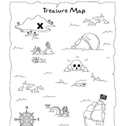 Treasure Map Coloring Page and Activity. Can use as tracing page.
