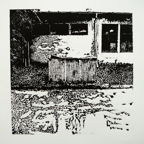 Veľkomoravská 2866-9 OzTN III  [printmaking, cutting into MDF] #printmaking #woodcut #bunker #art #shelters