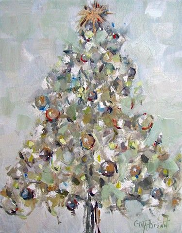 """""""O CHRISTMAS TREE"""" Original oil painting of a Christmas tree by artist Gina Brown www.GinaBrownArt.com"""