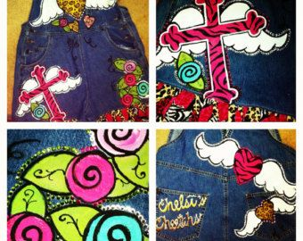 Custom Painted Overalls for girls with hearts by dreaminbohemian