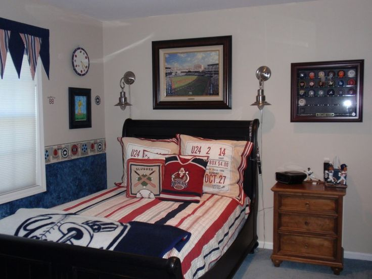 Awesome Beige Paint Color Scheme Of Teenage Boys Bedroom Design With Solid Brushed Nickel Wall Lamp Over Black Lacquered Wooden Bed Frame And Brown Varnishes Pine Wood Nightstand, Coolest Teenage Guy Bedroom Ideas: Bedroom, Furniture, Interior