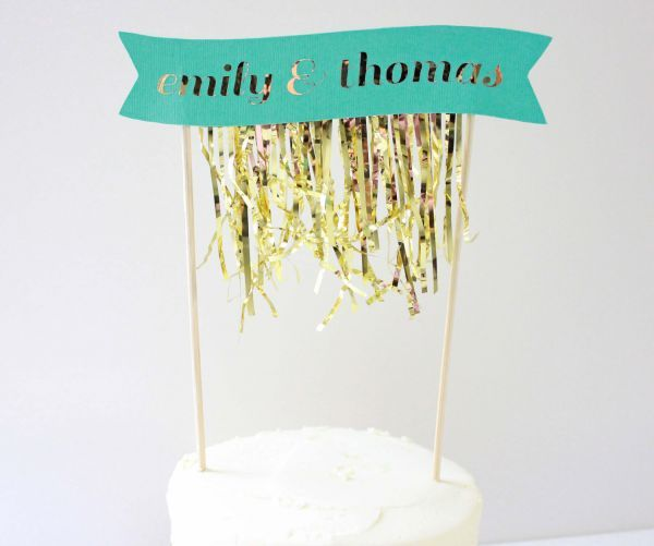 Jazz up a plain-Jane cake with this festive fringed cake banner, available in any color.