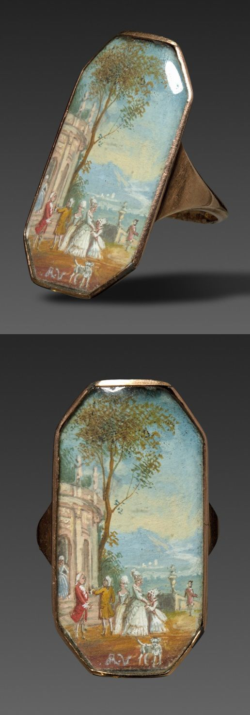 France, 1800s. Miniature painting mounted in gold