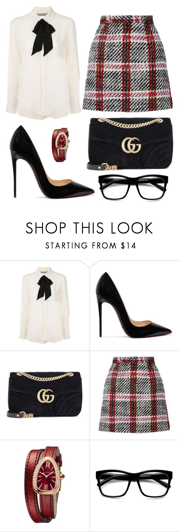 """""""Untitled #219"""" by pattydd ❤ liked on Polyvore featuring Sportmax, Christian Louboutin, Gucci, Carven, Bulgari and ZeroUV"""