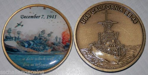 USS California BB 44 Challenge Coin Pearl Harbor WWII Day of Infamy Last Torpedo