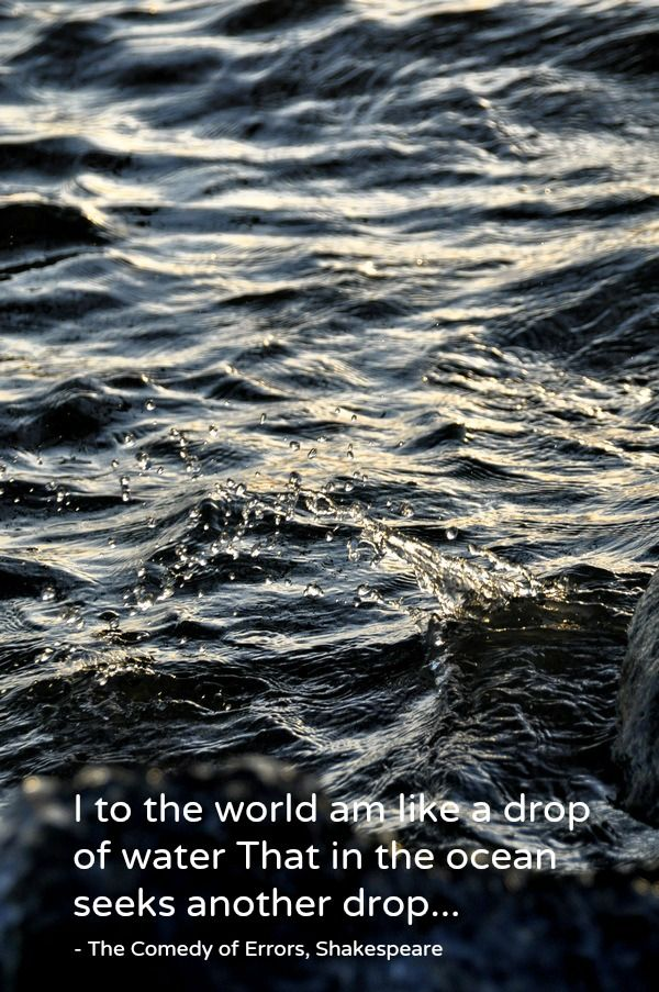I to the world am like a drop of water That in the ocean seeks another drop... - The Comedy of Errors, Shakespeare